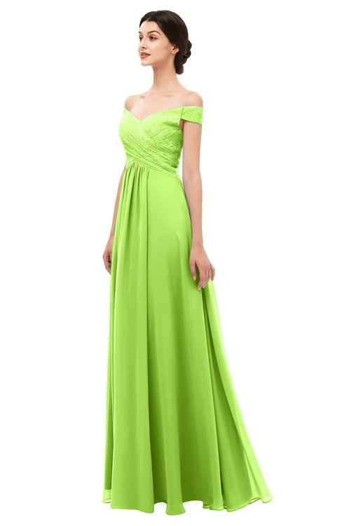 24ca249650ac ... ColsBM Lilith Bright Green Bridesmaid Dresses Off The Shoulder Pleated  Short Sleeve Romantic Zip up A ...
