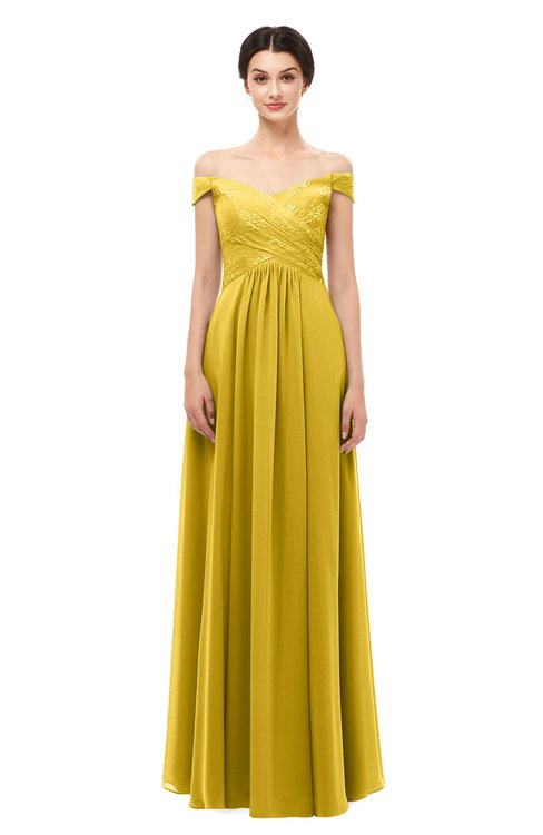 c2fe939b934 ... ColsBM Lilith Lemon Curry Bridesmaid Dresses Off The Shoulder Pleated  Short Sleeve Romantic Zip up A ...