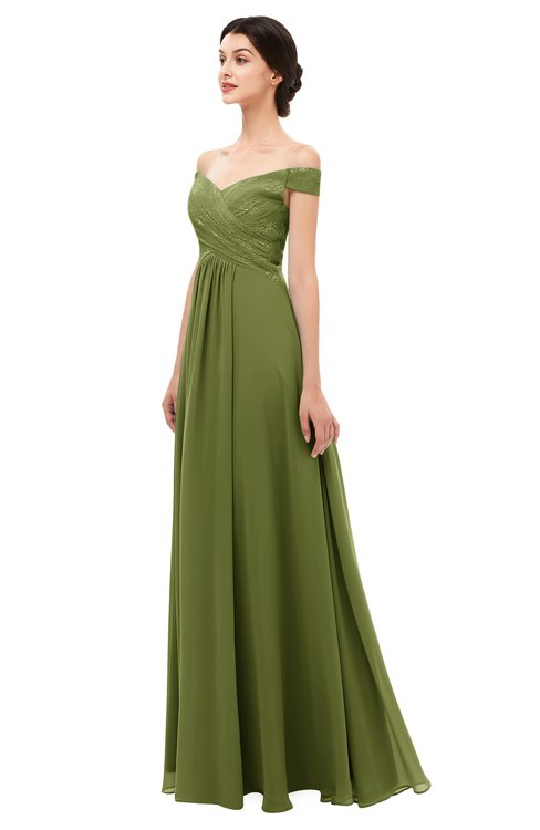 27724c8a3a0 ColsBM Lilith Olive Green Bridesmaid Dresses Off The Shoulder Pleated Short  Sleeve Romantic .
