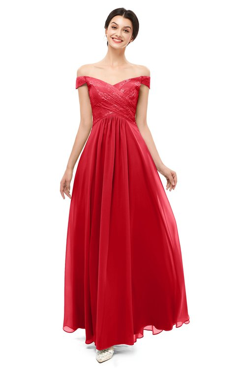 ColsBM Lilith Red Bridesmaid Dresses Off The Shoulder Pleated Short Sleeve Romantic Zip up A-line