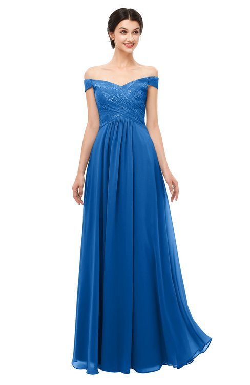 d3792ced5fae ... ColsBM Lilith Royal Blue Bridesmaid Dresses Off The Shoulder Pleated  Short Sleeve Romantic Zip up A ...