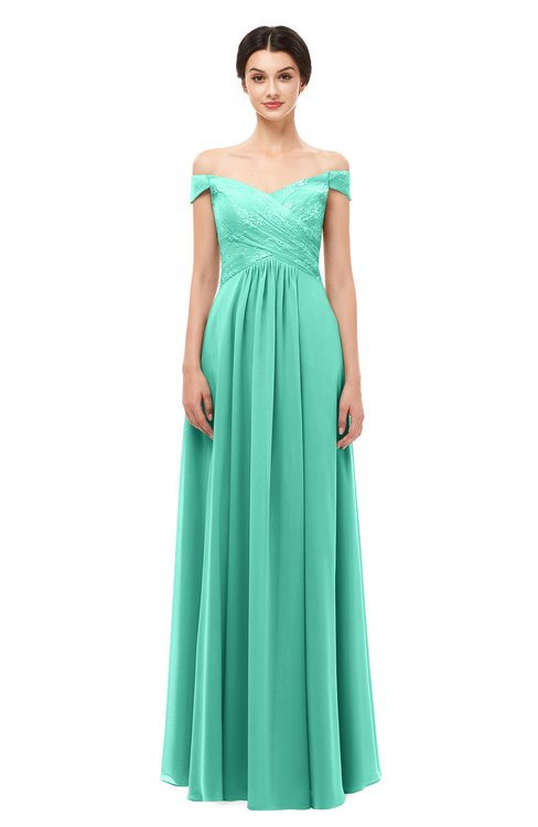 Colsbm Lilith Seafoam Green Bridesmaid Dresses Off The Shoulder Pleated Short Sleeve Zip Up A