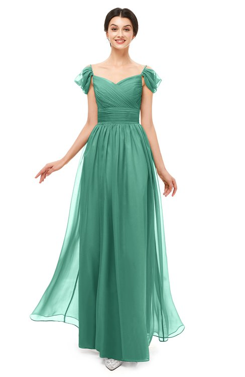 ColsBM Paula Beryl Green Bridesmaid Dresses Zipper Sexy Beaded Floor Length Short Sleeve Spaghetti