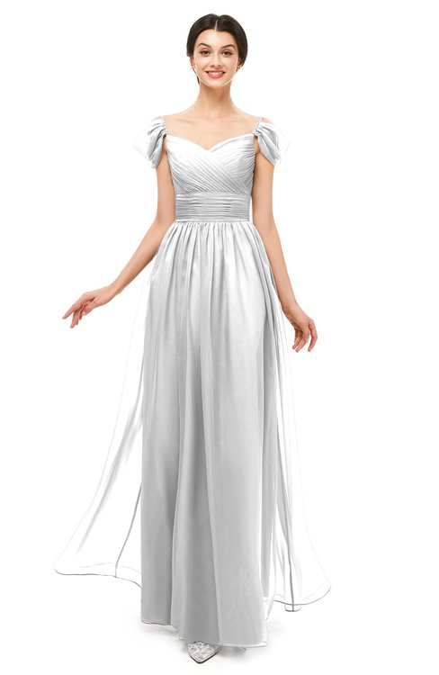 ColsBM Paula Cloud White Bridesmaid Dresses Zipper Sexy Beaded Floor Length Short Sleeve Spaghetti