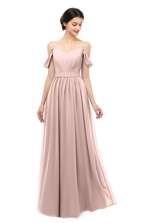 ColsBM Elwyn Dusty Rose Bridesmaid Dresses Floor Length Pleated V-neck Romantic Backless A-line