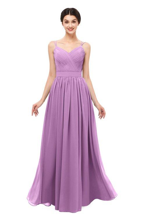 ColsBM Bryn Orchid Bridesmaid Dresses Floor Length Sash Sleeveless Simple A-line Criss-cross Straps