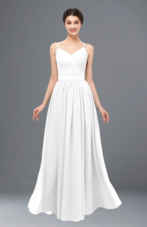 a3ff522c34 ColsBM Bryn White Bridesmaid Dresses Floor Length Sash Sleeveless Simple A-line  Criss-cross