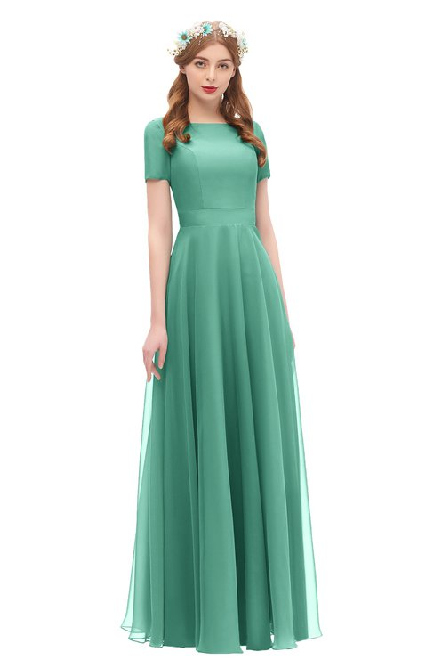 ColsBM Morgan Beryl Green Bridesmaid Dresses Zip up A-line Traditional Sash Bateau Short Sleeve