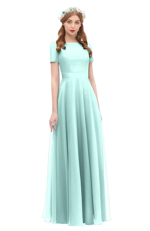ColsBM Morgan Blue Glass Bridesmaid Dresses Zip up A-line Traditional Sash Bateau Short Sleeve