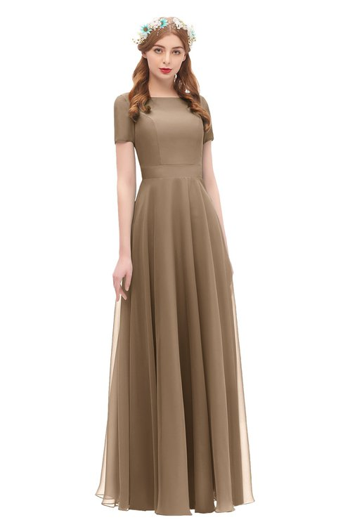 ColsBM Morgan Bronze Brown Bridesmaid Dresses Zip up A-line Traditional Sash Bateau Short Sleeve