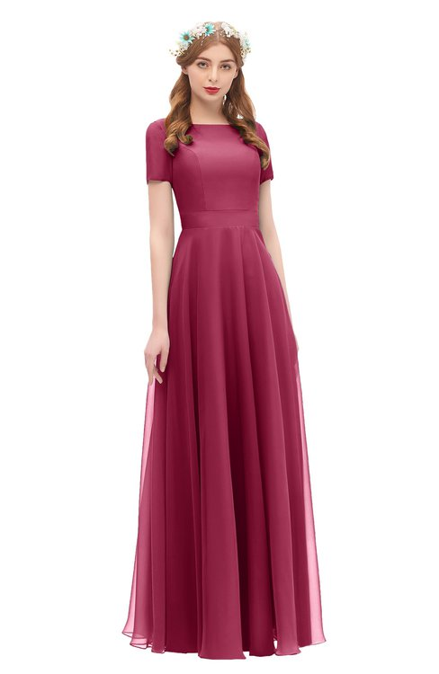 ColsBM Morgan Burgundy Bridesmaid Dresses Zip up A-line Traditional Sash Bateau Short Sleeve