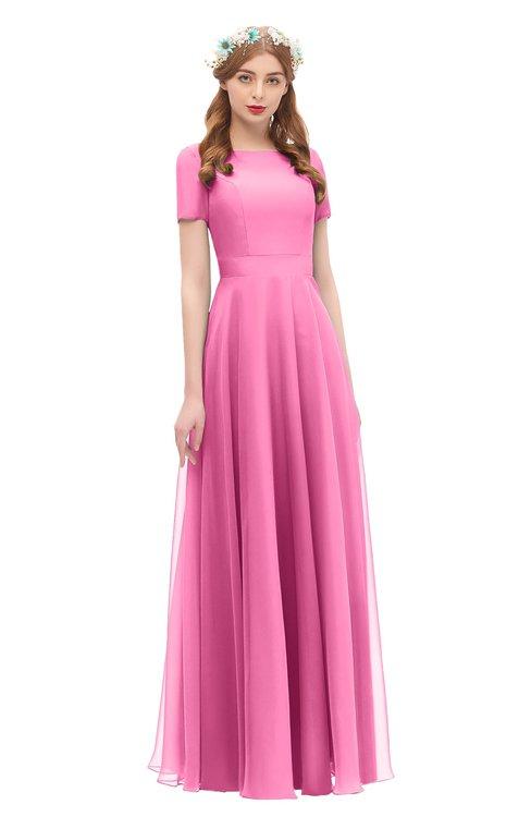 ColsBM Morgan Carnation Pink Bridesmaid Dresses Zip up A-line Traditional Sash Bateau Short Sleeve