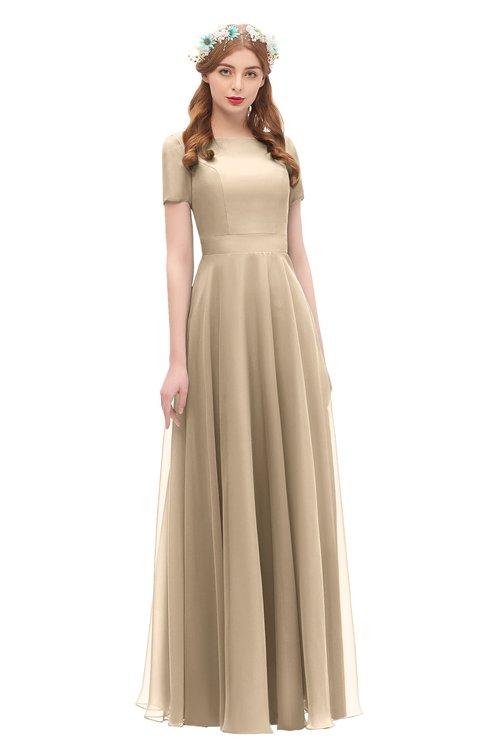 ColsBM Morgan Champagne Bridesmaid Dresses Zip up A-line Traditional Sash Bateau Short Sleeve
