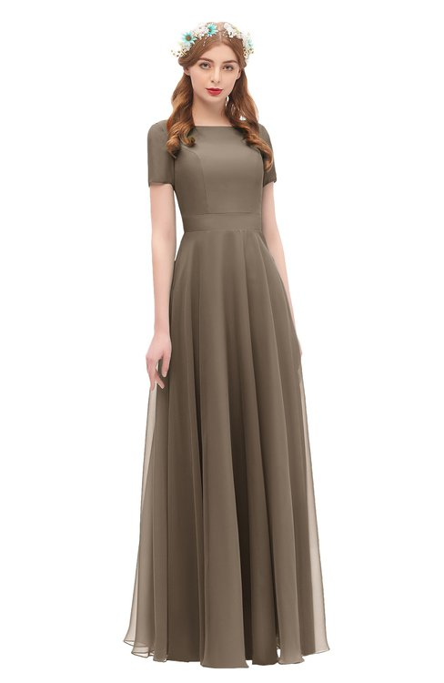 ColsBM Morgan Chocolate Brown Bridesmaid Dresses Zip up A-line Traditional Sash Bateau Short Sleeve