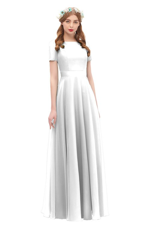 ColsBM Morgan Cloud White Bridesmaid Dresses Zip up A-line Traditional Sash Bateau Short Sleeve
