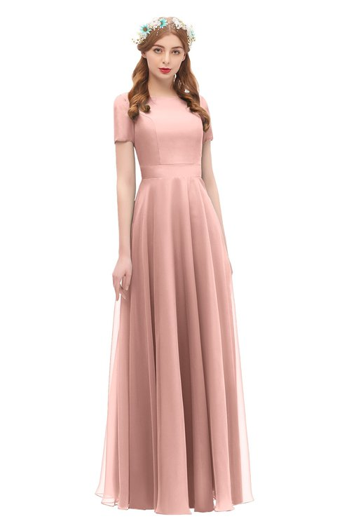 ColsBM Morgan Coral Almond Bridesmaid Dresses Zip up A-line Traditional Sash Bateau Short Sleeve