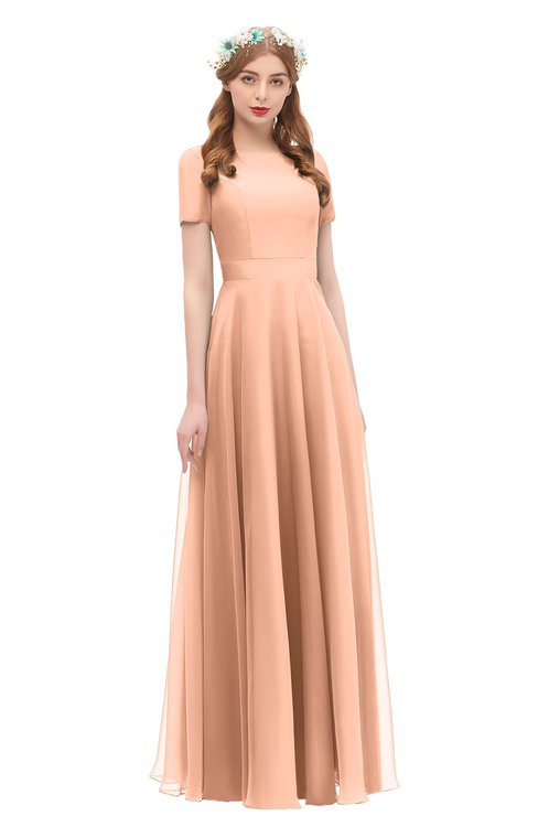 ColsBM Morgan Coral Reef Bridesmaid Dresses Zip up A-line Traditional Sash Bateau Short Sleeve