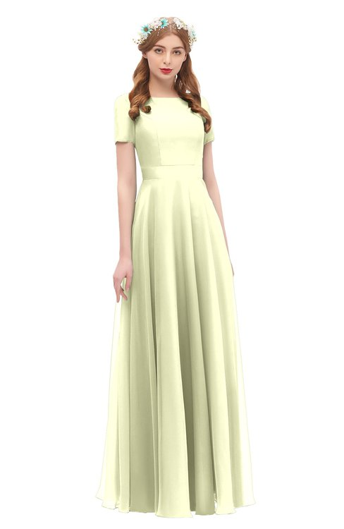 ColsBM Morgan Cream Bridesmaid Dresses Zip up A-line Traditional Sash Bateau Short Sleeve