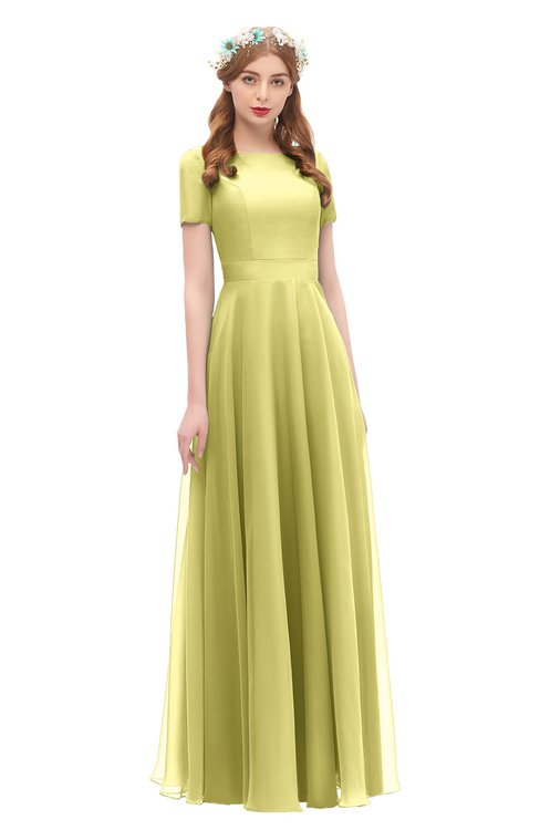 ColsBM Morgan Daffodil Bridesmaid Dresses Zip up A-line Traditional Sash Bateau Short Sleeve