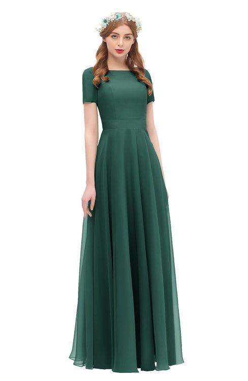 ColsBM Morgan Dark Jade Bridesmaid Dresses Zip up A-line Traditional Sash Bateau Short Sleeve