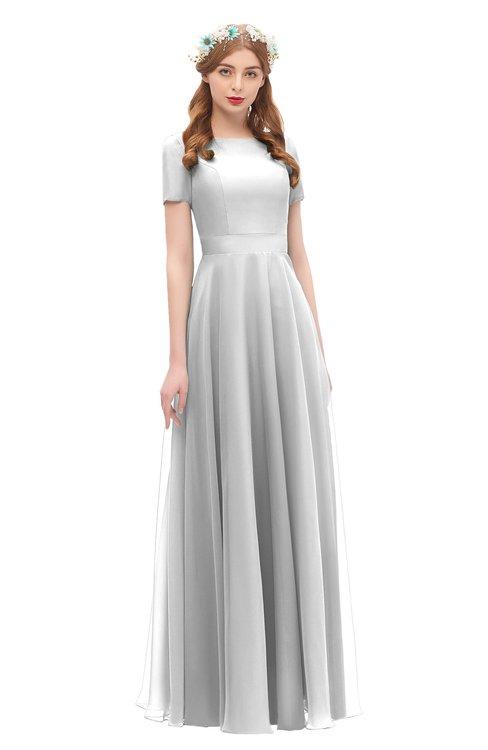 ColsBM Morgan Dove Grey Bridesmaid Dresses Zip up A-line Traditional Sash Bateau Short Sleeve
