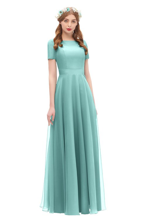 ColsBM Morgan Eggshell Blue Bridesmaid Dresses Zip up A-line Traditional Sash Bateau Short Sleeve