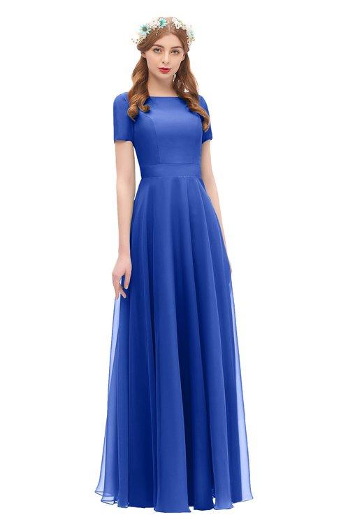 ColsBM Morgan Electric Blue Bridesmaid Dresses Zip up A-line Traditional Sash Bateau Short Sleeve