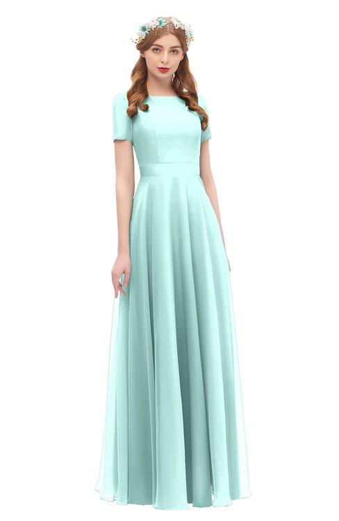 ColsBM Morgan Fair Aqua Bridesmaid Dresses Zip up A-line Traditional Sash Bateau Short Sleeve
