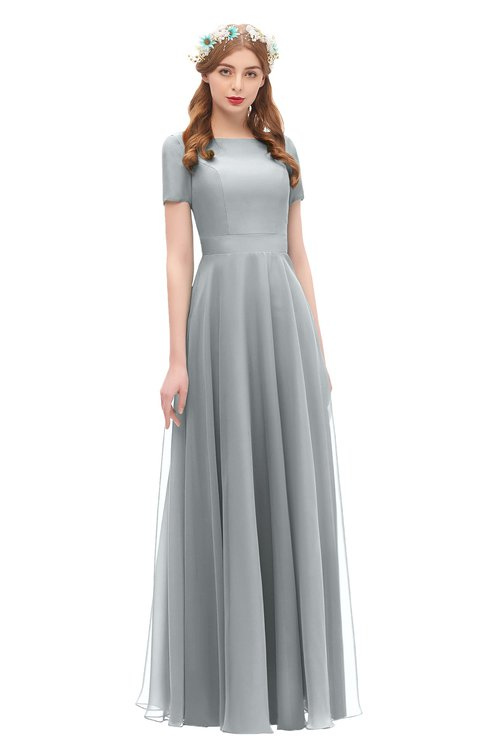 ColsBM Morgan Frost Grey Bridesmaid Dresses Zip up A-line Traditional Sash Bateau Short Sleeve