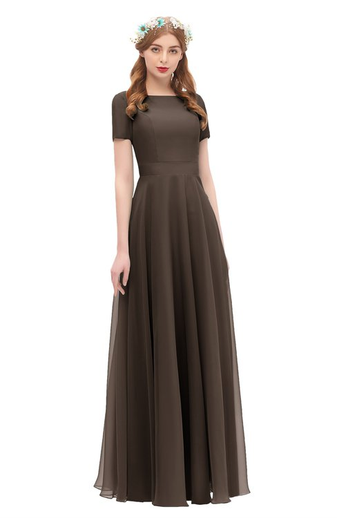 ColsBM Morgan Fudge Brown Bridesmaid Dresses Zip up A-line Traditional Sash Bateau Short Sleeve