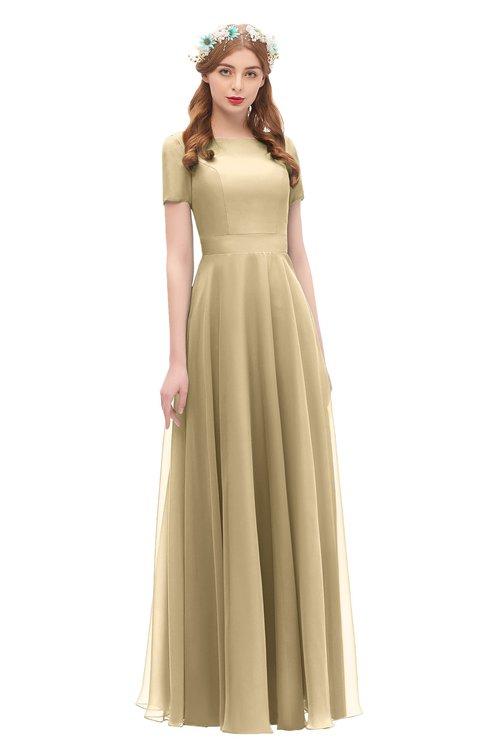 ColsBM Morgan Gold Bridesmaid Dresses Zip up A-line Traditional Sash Bateau Short Sleeve