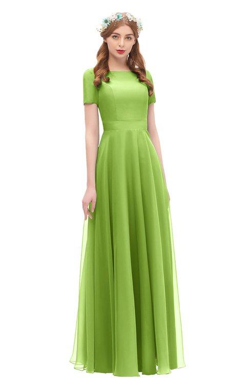 ColsBM Morgan Greenery Bridesmaid Dresses Zip up A-line Traditional Sash Bateau Short Sleeve
