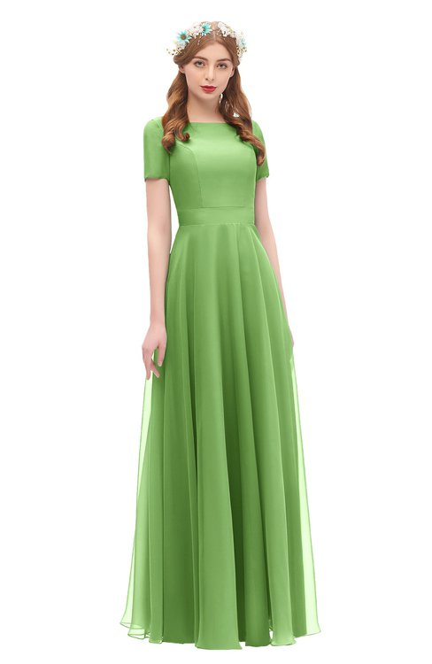 ColsBM Morgan Kiwi Green Bridesmaid Dresses Zip up A-line Traditional Sash Bateau Short Sleeve