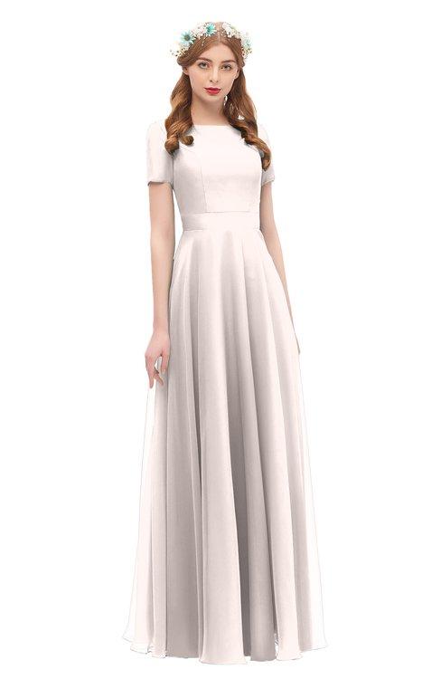 ColsBM Morgan Light Pink Bridesmaid Dresses Zip up A-line Traditional Sash Bateau Short Sleeve
