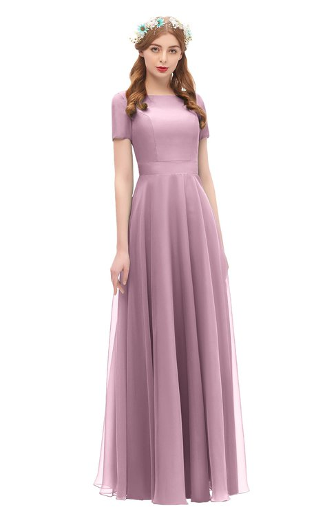 ColsBM Morgan Lilas Bridesmaid Dresses Zip up A-line Traditional Sash Bateau Short Sleeve