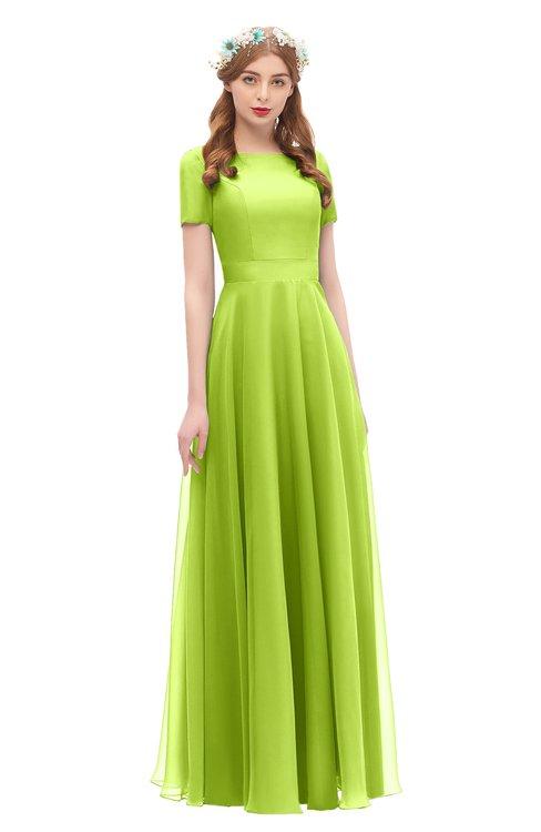 ColsBM Morgan Lime Green Bridesmaid Dresses Zip up A-line Traditional Sash Bateau Short Sleeve