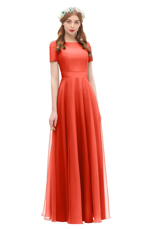 ColsBM Morgan Mandarin Red Bridesmaid Dresses Zip up A-line Traditional Sash Bateau Short Sleeve