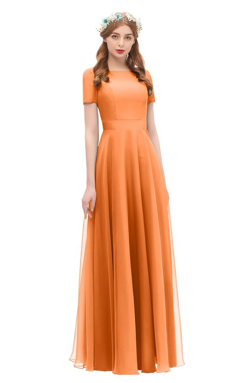 ColsBM Morgan Mango Bridesmaid Dresses Zip up A-line Traditional Sash Bateau Short Sleeve