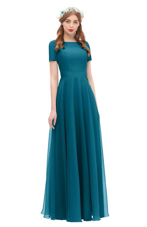 ColsBM Morgan Midnight Blue Bridesmaid Dresses Zip up A-line Traditional Sash Bateau Short Sleeve