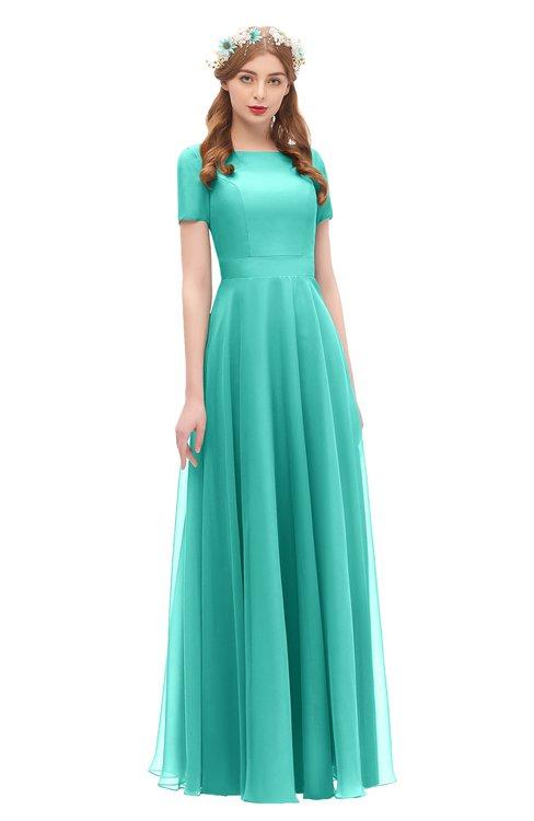 ColsBM Morgan Mint Green Bridesmaid Dresses Zip up A-line Traditional Sash Bateau Short Sleeve