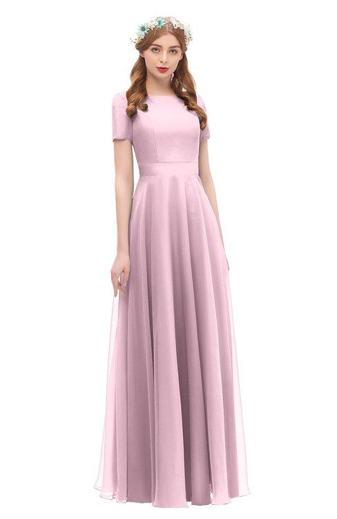 ColsBM Morgan Mist Pink Bridesmaid Dresses Zip up A-line Traditional Sash Bateau Short Sleeve