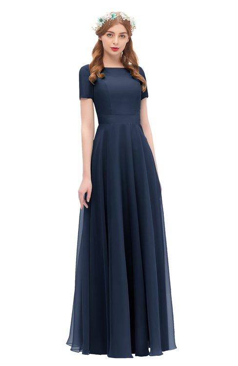 ColsBM Morgan Navy Blue Bridesmaid Dresses Zip up A-line Traditional Sash Bateau Short Sleeve