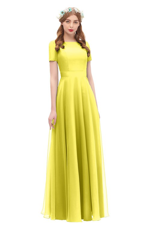 ColsBM Morgan Pale Yellow Bridesmaid Dresses Zip up A-line Traditional Sash Bateau Short Sleeve