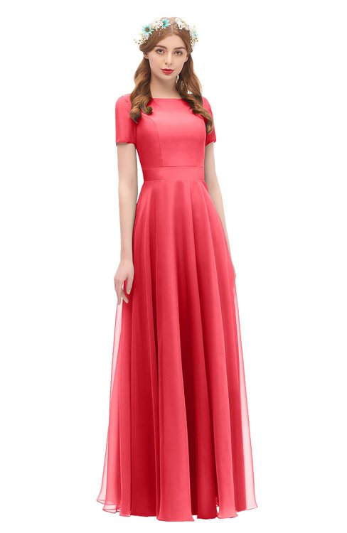 ColsBM Morgan Paradise Pink Bridesmaid Dresses Zip up A-line Traditional Sash Bateau Short Sleeve