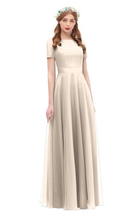 ColsBM Morgan Pastel Rose Tan Bridesmaid Dresses Zip up A-line Traditional Sash Bateau Short Sleeve