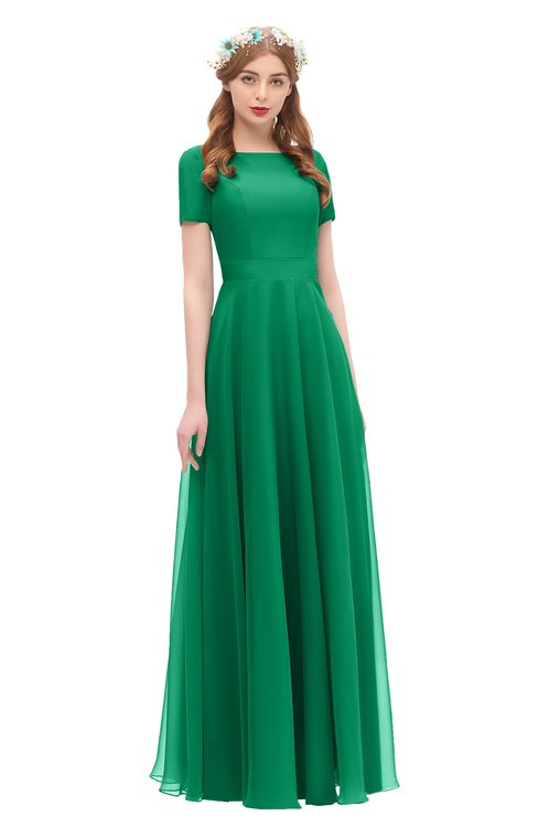 ColsBM Morgan Pepper Green Bridesmaid Dresses Zip up A-line Traditional Sash Bateau Short Sleeve