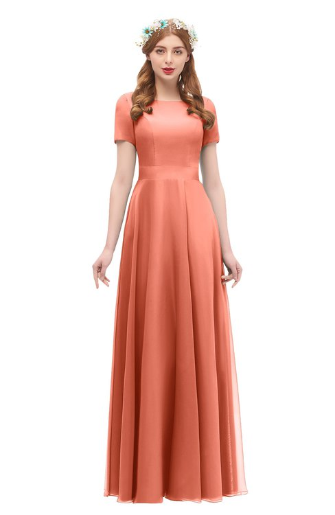 cdc87bf1b395 ... ColsBM Morgan Persimmon Orange Bridesmaid Dresses Zip up A-line  Traditional Sash Bateau Short Sleeve ...