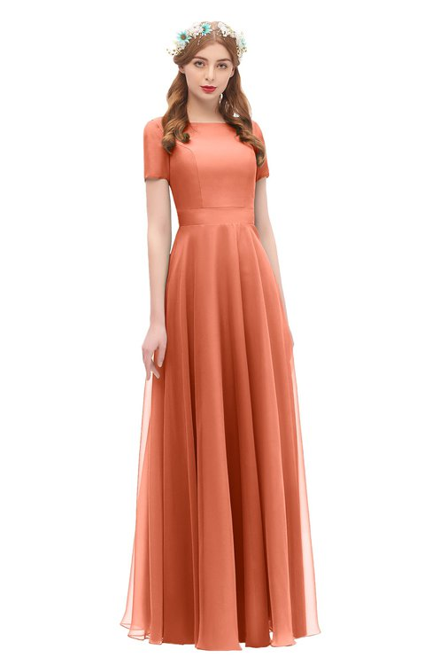 ColsBM Morgan Persimmon Bridesmaid Dresses Zip up A-line Traditional Sash Bateau Short Sleeve