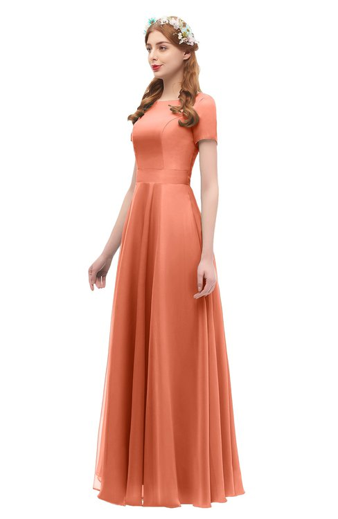 b5de1db3c8d1 ... ColsBM Morgan Persimmon Bridesmaid Dresses Zip up A-line Traditional  Sash Bateau Short Sleeve ...