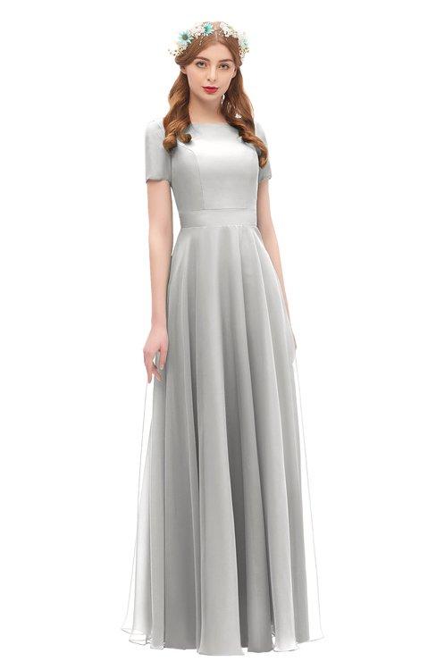 ColsBM Morgan Platinum Bridesmaid Dresses Zip up A-line Traditional Sash Bateau Short Sleeve